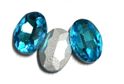 4pc Glass Crystal Stone Oval Small 10x14mm Aqua Blue