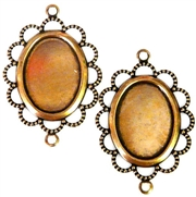 2pc 18x13mm antique gold setting connector beaded edge