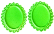 2pc enamel lace edge settings 25x18mm green