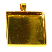 1pc 25mm bezel setting gold plated square