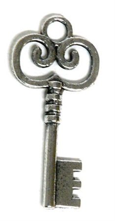 2pc Small Swirl Skeleton Key Charm Antique Silver 41x19mm