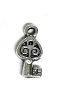 24pc Mini Solid Ornate Skeleton Key Charm Antique Silver 14x7mm