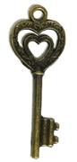 2pc Heart Duo Swirl Skeleton Key Charm Antique Brass 52x20mm