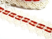 20cm creme and red grosgrain ribbon 40mm