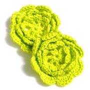 2pc chrochet blossom flowers 30mm green