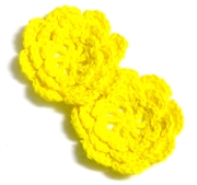2pc chrochet blossom flowers 30mm yellow