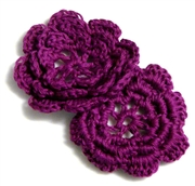 2pc chrochet blossom flowers 30mm marone