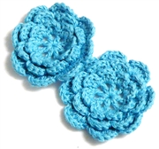 2pc chrochet blossom flowers 30mm aquamarine