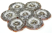 1pc large metallic flower w/ rhinestones silver