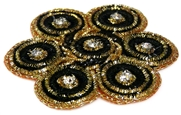 1pc large metallic flower w/ rhinestones black
