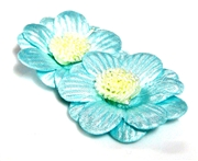 2pc posey flowers satin aquamarine blue