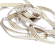60cm 6mm grosgrain ribbon chequred brown