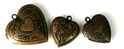 3pc antique brass heart locket set