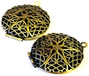 1pc antique brass filigree round locket 25mm