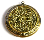1pc antique brass locket flower design 45mm