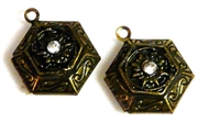 1pc hexagon locket antique brass w/rhinestone