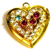1pc gold plated rhinestone heart locket