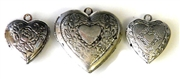 3pc heart locket set silver plated