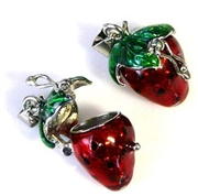 1pc strawberry locket enamel silver 20x15mm
