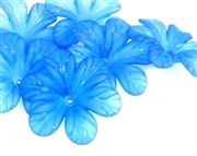 5pc 30mm posey flowers lucite blue