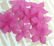 6pc Lucite Star Flowers 27mm Fuchsia Pink