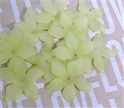 6pc Lucite Star Flowers 27mm Olive