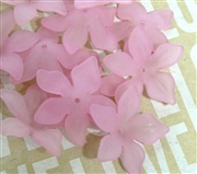 6pc Lucite Star Flowers 27mm Rose Pink