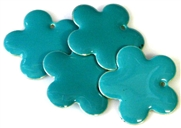 4pc enamel flower drops teal 26mm