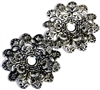 1pc filigree base antique silver wavy flower 45mm