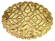 2pc filigree oval gold plated 30x32mm