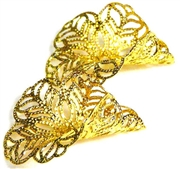 Pkt 4 filigree tulip bases gold plated 26x25mm