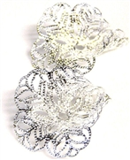Pkt 4 filigree tulip bases silver plated 26x25mm