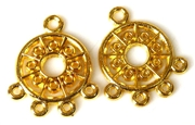 1pr gold plated dot circle drops 22x15mm