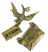 3pc Antique Gold Swallow & Letter Set 20-56mm
