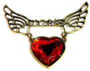 1pc love winged heart pendant 58x50mm