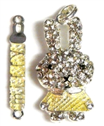 2pc rhinestone miffy pendant 45x6mm yellow