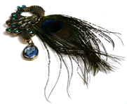 1pc peacock pendant w/feather 12cm x4.5cm