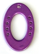 1pc metal pendant / base purple oval