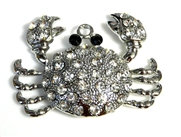 1pc antique silver crab rhinestone charm