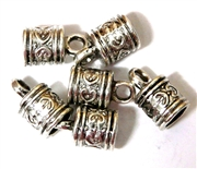 6PC Cord End antique Silver Heart Design 8mm