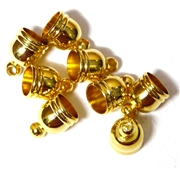 8PC Cord End antique Gold 6mm Smooth
