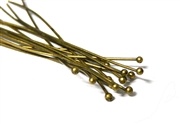 50pc antique brass headpins w/ball end 50mm