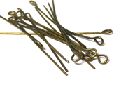 100pc 50mm eyepins antique brass