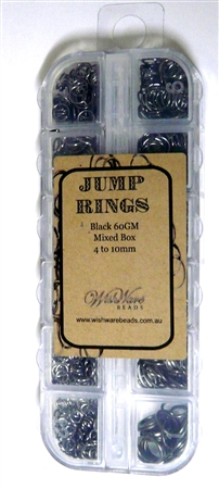 60GM Bulk Box Jump rings assorted Nickel 4-10mm