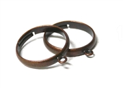 2PC antique copper plated ring bases with loop