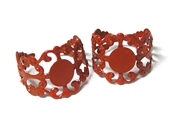 2PC Orange Filigree Ring Base with Pad