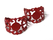 2PC Red Filigree Ring Base with Pad
