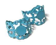 2PC Blue Filigree Ring Base with Pad
