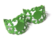2PC Green Filigree Ring Base with Pad