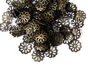 25pc antique brass plated 8mm filigree beadcaps